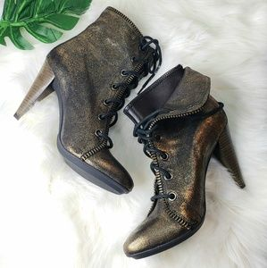 Coach Poppy Booties Boots Heels Lace Up Metallic